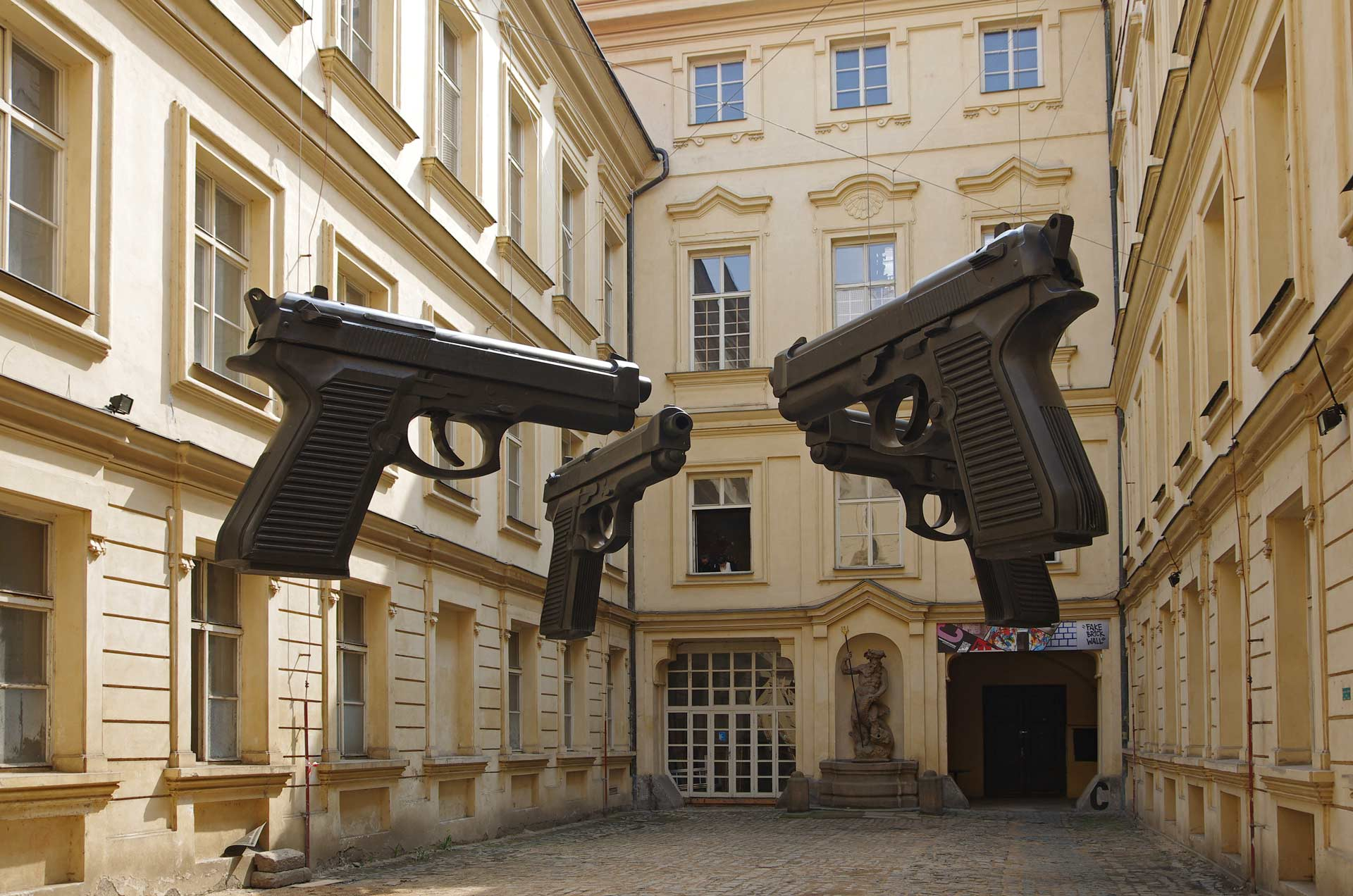 Contemporary-art-in-Prague---Guns-by-famous-Bohemian-artist-David-Cerny