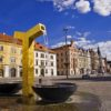 Golden-fountain-on-the-square-in-Pilsen