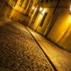 Romantic rainy Prague at night